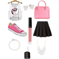 School  by melina-telkamp on Polyvore featuring polyvore, mode, style, Alexander Wang, Converse, Victoria Beckham, Mikimoto, Tiffany & Co., Charlotte Russe, Chanel and Essie