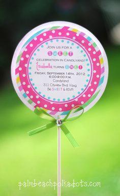 Candyland Lollipop Birthday Invitations by palmbeachpolkadots, $2.75