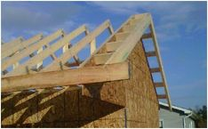 Building a shed roof easy instructions with photos of steps we took. Looks fantastic. Small Garden Office, Building A Shed Roof, Roof Overhang, When You Know, Backyard Ideas, Frame, Easy, House, Shed Roof
