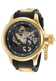 Invicta Men's Russian Diver Mechanical Black Dial 18K Gold Plated Case - Watch 17266,    #Invicta,    #17266,    #WatchesFashionMechanical