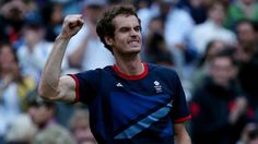 Andy Murray of Great Britain celebrates his 7-5, 7-5 win against Novak Djokovic of Serbia in the semi-final of men's Singles Tennis on Day 7 of the London 2012 Olympic Games at Wimbledon