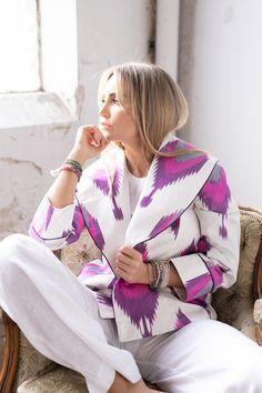 Silk Blazer Blazer, Ikat, Kimono Top, Tops, Fashion, Weaving, Silk, Cotton, Moda
