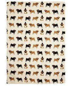 Fenella Smith Cream Pug Print Tea Towel | Kitchenware by Fenella Smith | Liberty.co.uk