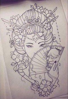 Geisha Tattoo Designs Simple - Geisha Tattoo Designs Simple Informations About Geisha Tattoo Designs Simple Pin You can - Geisha Tattoos, Irezumi Tattoos, Geisha Tattoo Design, Hannya Tattoo, Tattoo Design Drawings, Tattoo Sketches, Geisha Tattoo Sleeve, Tebori Tattoo, Japanese Drawings