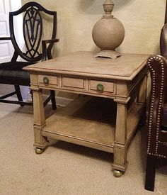 High End Wood Side Table French Linen Dark Wax Chalk Paint Provincial Rustic