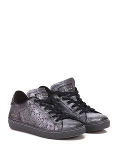 Leather Crown - Sneakers - Donna - Sneaker in pelle laminata e tessuto con suola…