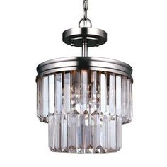 Sea Gull Lighting Carondelet 10.625-In 2-Light Antique Brushed Nickel Crystal Clear Glass Waterfall Chandelier 7714002Bl