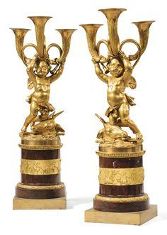 candlesticks/candelabra ||| sotheby's pf1731lot8zywven Paire de candélabres aux enfants chasseurs en bronze doré de la fin de l'époque Louis XVI, d'après un modèle de Boizot et Rémond