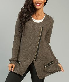 Look what I found on #zulily! Brown Asymmetrical-Zip Cardigan #zulilyfinds Comes in many colors.  Like the asymmetrical look.