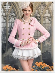 Morpheus Boutique  - Pink Bow Double Breasted Lovely Floral Long Sleeve Hem Jacket, $89.99 (http://www.morpheusboutique.com/pink-bow-double-breasted-lovely-floral-long-sleeve-hem-jacket/)