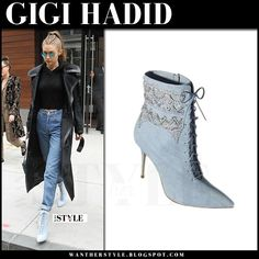 Gigi Hadid in blue lace up ankle boots