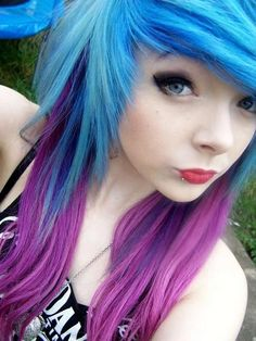 purple blue &.blue hair