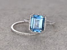 London Blue Topaz Engagement Ring Topaz Halo by Twoperidotbirds