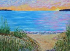 "Saatchi Art Artist Kathy Symonds; Painting, ""Lake Michigan Sunset, Landscape Painting- sea grass, sandy beach"" #art"