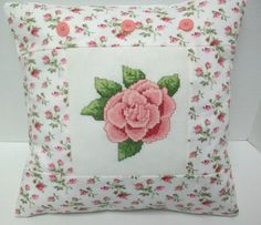 Shabby  Chic Cross Stitched Rose Pillow by luvinstitchin4u on Etsy, $29.99