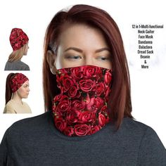 Face Mask Red Roses Flowers 12 in 1 Multi-functional Mask | Etsy Black Neck, Half Face Mask, Bohemian Design, Death Metal, Fashion Face Mask, Head Wraps, Hair Band, Red Roses, Pattern Design