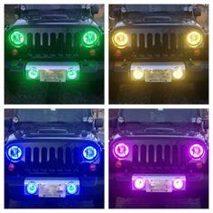 2007-2014 KC Jeep Wrangler JK Fog Lights housings with RGB Custom Halo installed in eBay Motors, Parts & Accessories, Car & Truck Parts, Lighting & Lamps, Headlights | eBay