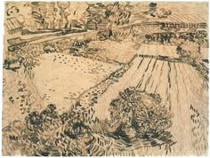 Vincent van Gogh Drawing, Reed pen Saint-Rémy: June, 1889 Private collection F: 1494, JH: 1752 Image Only - Van Gogh: Fields with Poppies