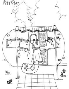 Instant Download - Whimsical Travel Trailer haning out the laundry - Printable Coloring Page by PittStar on Etsy