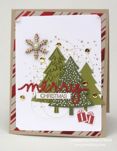 Peaceful Pines, Holiday Fancy Foil vellum, Christmas Greetings thinlits, Stampin Up Homemade Christmas Cards, Stampin Up Christmas, Christmas Cards To Make, Xmas Cards, Christmas Greetings, Homemade Cards, Handmade Christmas, Holiday Cards, Christmas Crafts