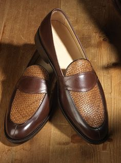 The Charleston Loafer in Brown Leather with Woven Upper