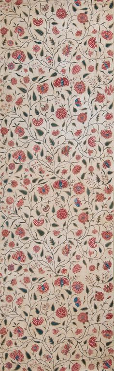 <em>Embroidered Furnishing Fabric, possibly for Bed Hangings</em>, Gujarat, early 18th century, for the Western market