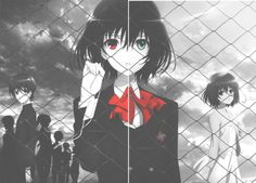 Kouichi Sakakibara, Misaki Mei, and Fujioka Misaki Manga Anime, Anime Ai, All Anime, Anime Stuff, Another Misaki Mei, Creepy, Scary, Fanart, Film D'animation