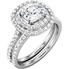 Beautiful Double Halo Bridal Set Ring with Cushion Diamond and Matching Band - http://www.mybridalring.com/Rings/cushion-shape-semi-mount-with-matching-diamond-band/