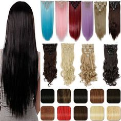 17-26 inches All Colors 8piece/Set Full Head Weft Clip in real natural Hair Extensions Extension for human longer Hair