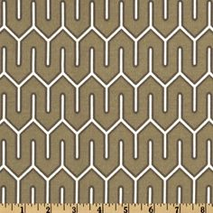 Dwell Studio Indoor/Outdoor Mazescene Taupe from @fabricdotcom  Designed by Dwell Studio, this great indoor/outdoor fabric is stain and water resistant, perfect for outdoor settings and indoors in sunny rooms as it is fade resistant to 500 hours of direct sun exposure. To maintain the life of the fabric bring indoors when not in use. Create decorative pillows, chair pads, table accents, cushions, deck chairs, slipcovers and upholstery. Colors include ivory on a taupe background.