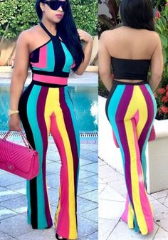 Multicolor Striped Halter Neck Backless Off Shoulder Two Piece Long Jumpsuit