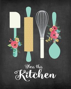 Bless This Kitchen Canvas Print by Jo Moulton. All canvas prints are professionally printed, assembled, and shipped within 3 - 4 business days and delivered ready-to-hang on your wall. Choose from multiple print sizes, border colors, and canvas materials. Kitchen Canvas Art, Kitchen Wall Art, Diy Kitchen, Kitchen Posters, Kitchen Prints, Kitchen Quotes, Bakery Logo Design, Diy Canvas Art, Diy Painting