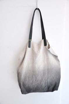 dip dye tote like this by MARGARETE HAUSLER   (note to self : use merchant and mills leather bag handles)
