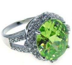 Sterling Silver Round Cut Green Cz Halo Ring  $45 SD-PI9STR00484 WHOLE SIZES 5-9 www.facebook.com/groups/jewelrybycara