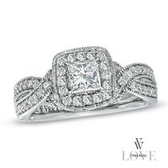 holla!    Vera Wang LOVE Collection 1-1/5 CT. T.W. Princess-Cut Diamond  Ring in 14K White Gold - Zales