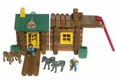 Lincoln Logs Wild West Ranch 150 Piece Set! by Lincoln Logs. $99.99. This huge tub contains over 150 pieces!. Lincoln Logs contains real wooden logs: a classic since 1916!. Includes 120 logs, 8 windows, 2 doors with frames, 2 chimneys, 1 lookout roof, 1 corral gate with 2 doors, 2 gable roofs, 1 flag, 1 trough, 4 barrels, 4 horses, 2 cowboys (dusty trail and buck n. bronco), label sheet and instructions.. Recommended Age: 3 - 7 years.. Build a wild west ranch ...