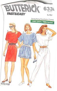BUTTERICK 6338 - FROM 1988 - UNCUT - MISSES TOP, PANTS, SHORTS & SKIRT