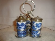 Blue Willow Condiment Set Taylor & Tunnicliffe Two Temples  75