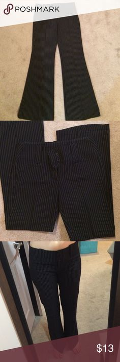 "H&M Pinstriped Dress Pant These are in excellent condition. Worn very few times and are great quality. Size on tag says 8 but I am currently a size 6 and would probably recommend these for a 6. 31"" inseam, 8.5"" rise and width laying flat across the top of the waist is 16"". White pinstriped, flared leg, and front and back pockets. Always open to negotiations through the offer button. H&M Pants"