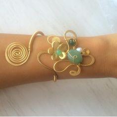 Sale green jade bracelet wire wrapped by santorinijewellery
