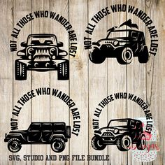 Not All Who Wander are Lost Jeep Bundle -SVG, Silhouette studio and png bundle -  4 design downloads