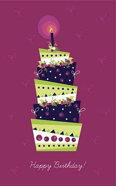 バースデーカード、美しいケーキ ベクターアートイラスト
