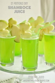 Shamrock Juice. (pineapple juice, lemonade, sparkling white grape juice, & cubed lime popsicles ... garnished w/green apples sliced & cut w/shamrock cookie cutters!) Sounds simple, festive & yummy!!