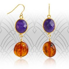 Item: Amber and Sapphire Retro Style Drop Earrings Brand: Regenz Metal Purity: Yellow Gold Gemstones: Sapphi. Baltic Amber, Stone Jewelry, Jewelry Stores, Retro Fashion, Retro Style, Sapphire, Pendant Necklace, Drop Earrings, Jewels