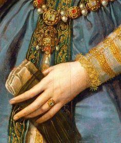 Portrait of Maria de' Medici or Eleonora di Garzia di Toledo… Classic Paintings, Old Paintings, Beautiful Paintings, Mode Renaissance, Renaissance Jewelry, Pierre Auguste Cot, Hieronymus Bosch, Renaissance Paintings, Classical Art