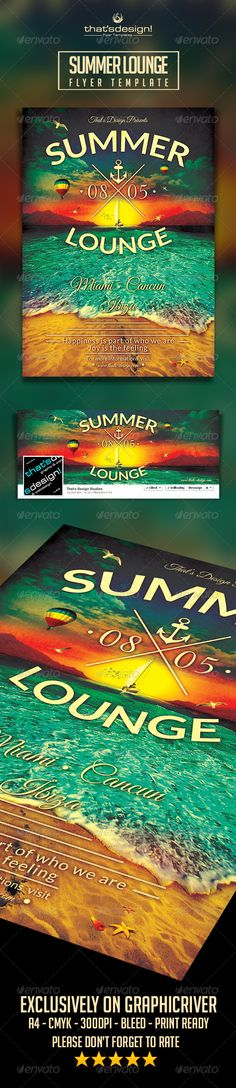 Summer Lounge Flyer Template V  Products Flyers And Studios