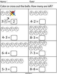 Coloring Worksheets For Kindergarten, Beginning Sounds Worksheets, Math Addition Worksheets, Pre K Worksheets, Preschool Education, Teaching Math, Subtraction Kindergarten, Montessori Math, Math For Kids