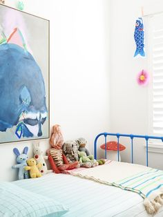 Miranda Skoczek oil painting on linen. Iron bed from Scout House, Hay bedding, and Moroccan blanket from Paddo to Palmy. Production – Lucy Feagins / The Design Files. Baby Decor, Kids Decor, Unisex Kids Room, Childrens Room, Casa Kids, Deco Kids, Melbourne House, Blue Bedding, The Design Files
