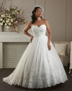 Ball Gown White Empire Waist Appliqued Custom Made 2014 Plus Size Wedding Dresses for Fat Womens $199.99