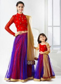 Pretty Mother Daughter Blue And Red Net Lehenga Choli Mother Daughter Fashion, Mom Daughter, Mother Daughters, Mothers, Kids Lehenga, Net Lehenga, Lehenga Choli, Sarees, Mommy And Me Outfits